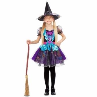 Disfraz de Bruja destellos para niña