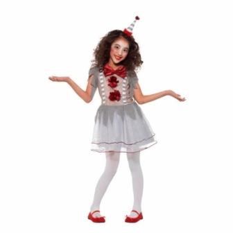Disfraz de Payasa Malvada Gris para niña