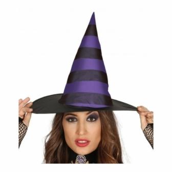 Sombrero Bruja Lila a rayas mujer