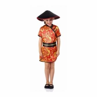 Disfraz China roja para niña