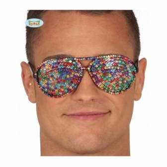 Gafas con brillantes multicolor